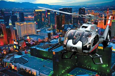 Maverick Over Las Vegas Strip at Night
