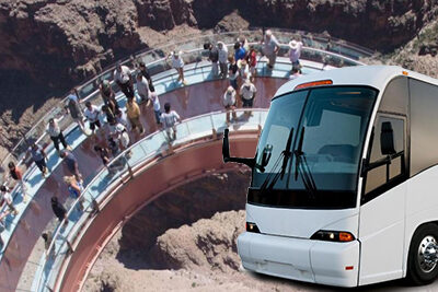 Grand Canyon Skywalk with Gray Line Bus Overlay