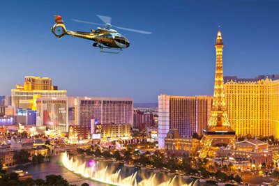 Helicopter Over Las Vegas at Night