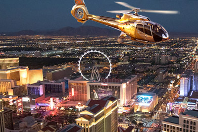 Helicopter Soaring Over Las Vegas Strip