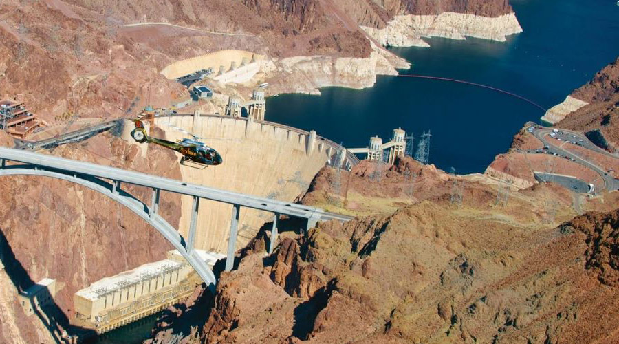 Helicopter Aerial View of Hoover Dam