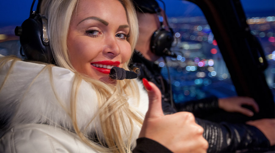 5 Star Helicopter with Beautiful Lady over Las Vegas Strip