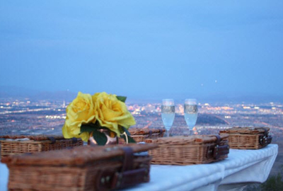 Picnic Baskets with Yellow Roses and Champagne Glasses