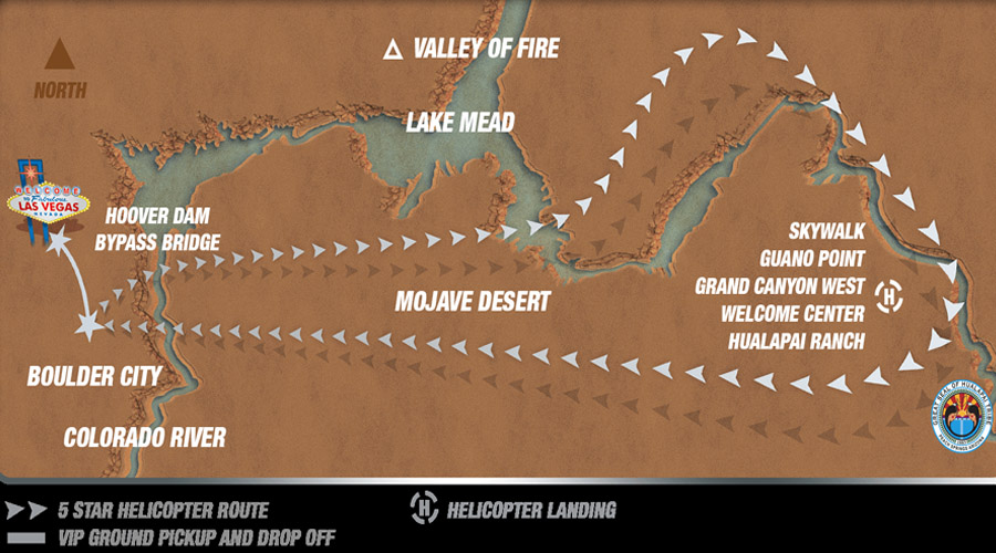 5 Start Helicopter Route Map for Grand Canyon West Rim Eagle Point