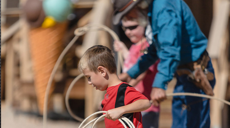 Kids Learning to Rope at Hualapai Ranch