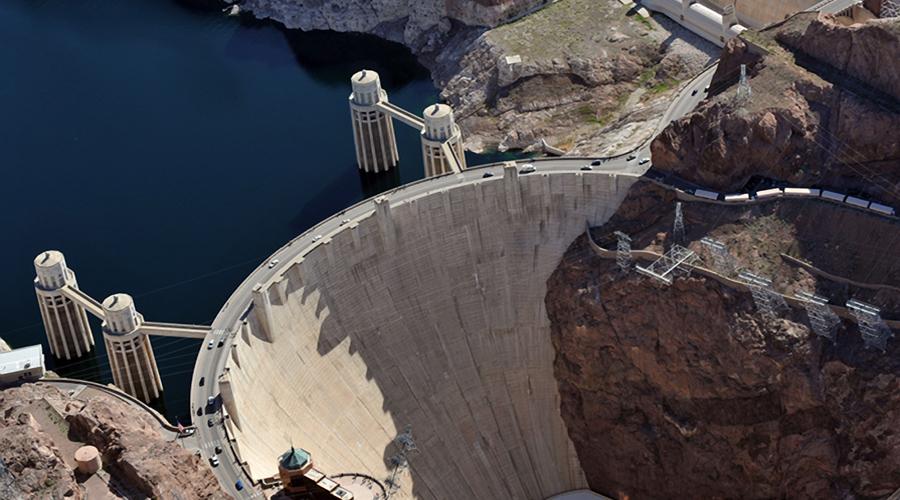 Aerial Closeup Hoover Dam