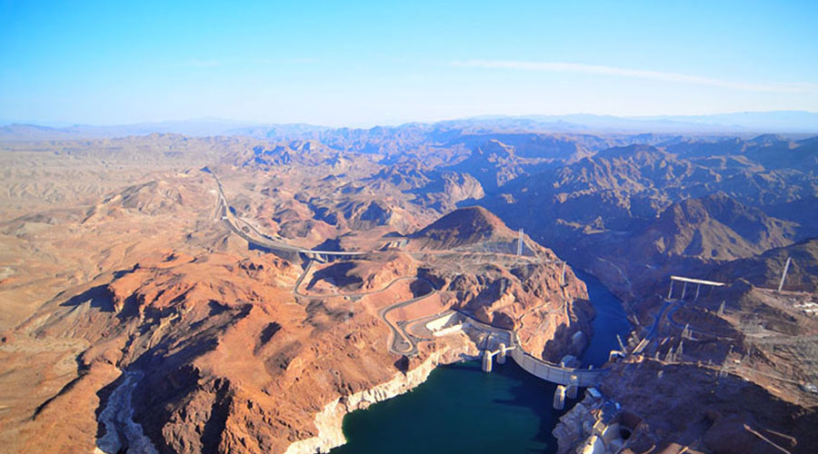Aerial View of Hoover Dam and Lake Mead
