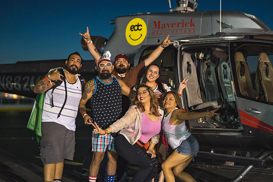 Electric Daisy Carnival Folks Posing with Maverick Helicopter