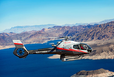 Maverick Helicopter Flying Over Lake Mead