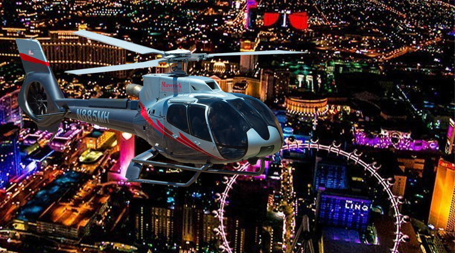 Maverick Helicopter Over Las Vegas Strip