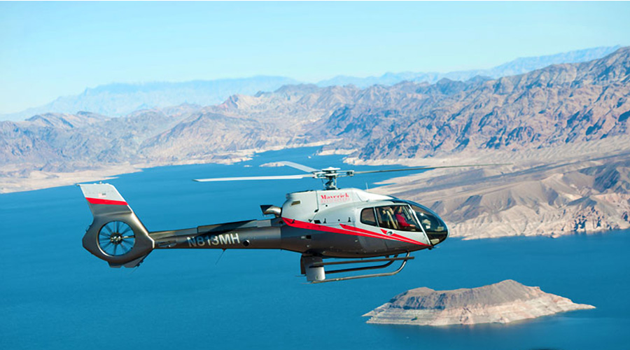 Maverick Helicopter Soaring Over Lake Mead