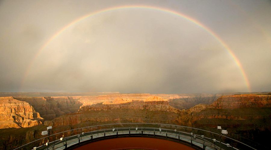 Grand Canyon West Rim Skywalk With Rainbow Overhead