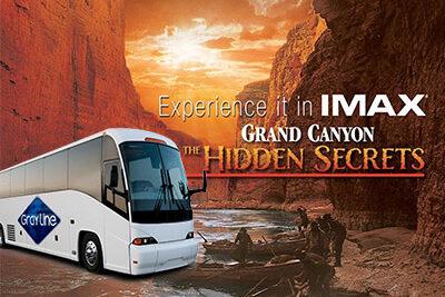 Gray Line Bus Overlay Over IMAX Logo