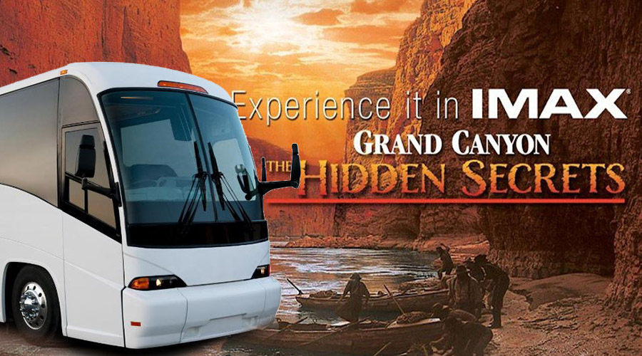 Gray Line Bus Overlay Over IMAX Logo