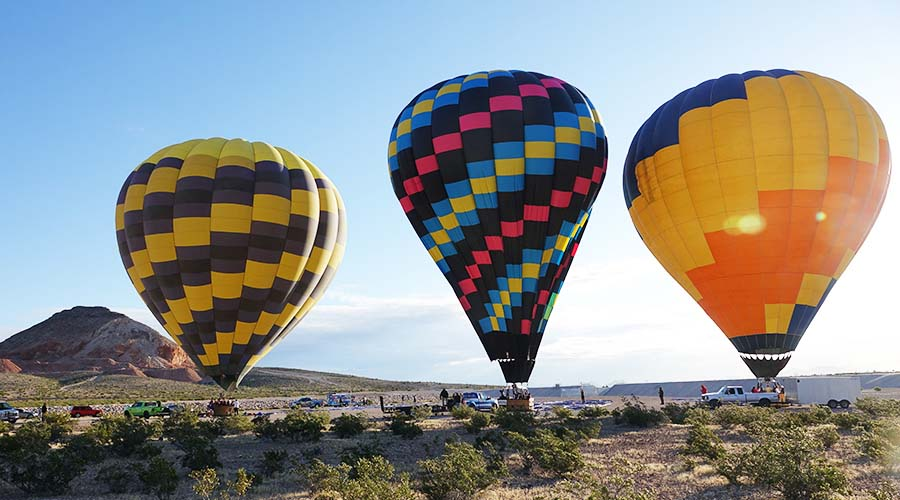 3 Hot Air Balloons lifting off