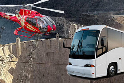Helicopter Soaring Over Hoover Dam with Bus Overlay
