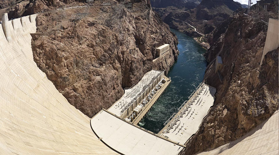 Hoover Dam Aerial View of Spillway