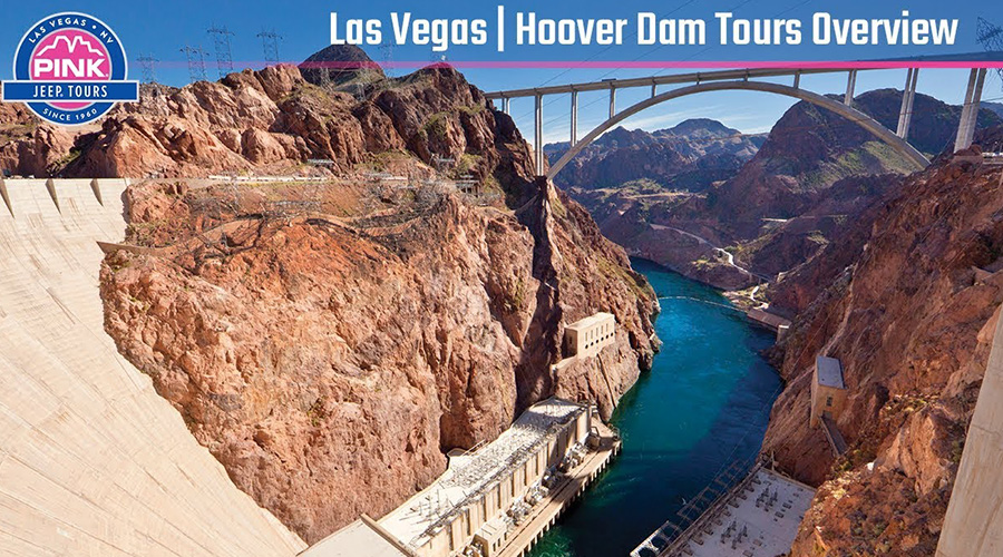 Hoover Dam and Memorial Bridge Pink Jeep Overview