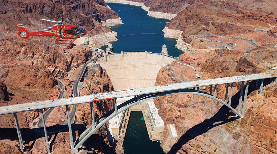 Hoover Dam with Helicopter