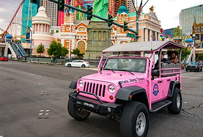 Open Air Jeep Wrangler In Front Of New York New York Las Vegas
