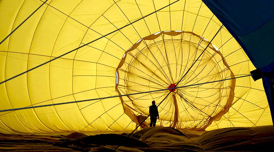 Pre-flight Check of Hot Air Balloon Interior
