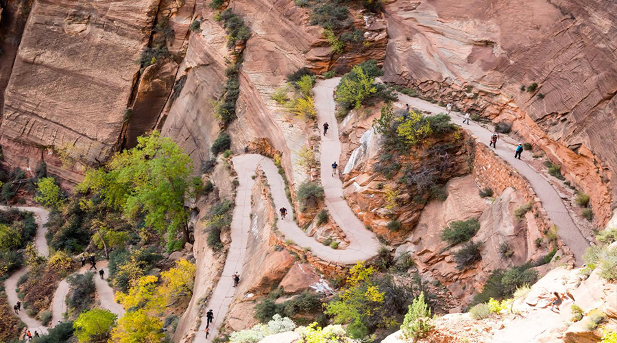 Aerial View of Switchback trails at Zion National Park
