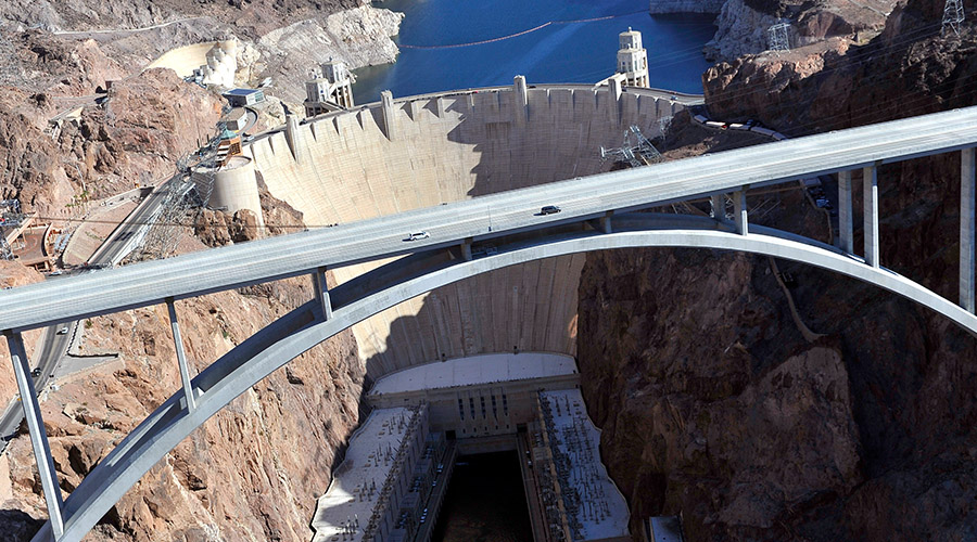 Aerial view of Hoover Dam and Bridge