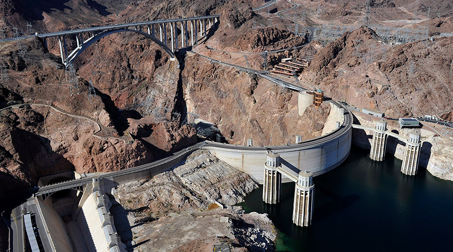 Aerial view of Hoover Dam and Memorial Bridge