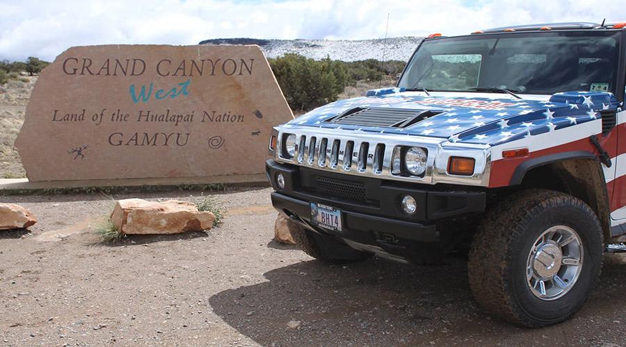 Big Horn Hummer at Grand Canyon Hualapai Indian Nation Sign