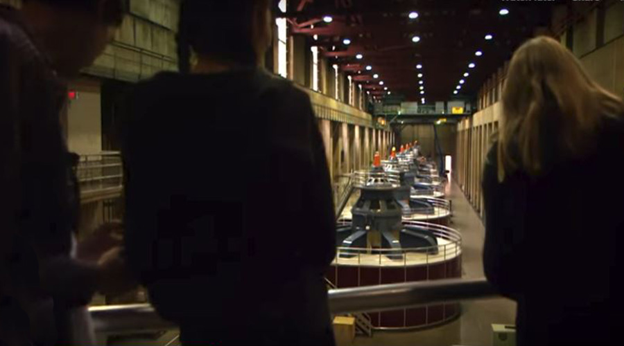 Guest at Hoover Dam Turbine Room