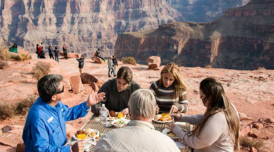 Guest enjoying a picnic lunch at Grand Canyon West Rim
