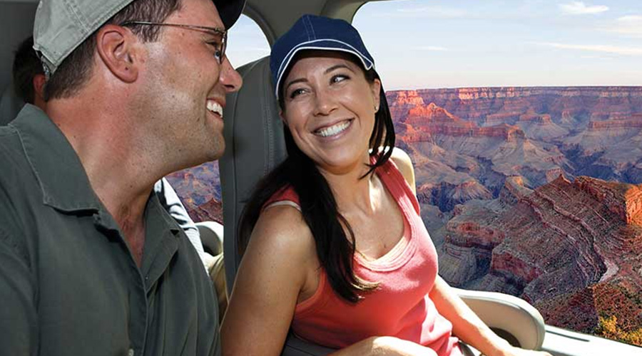 Guest riding inside Helicopter at Grand Canyon West Rim