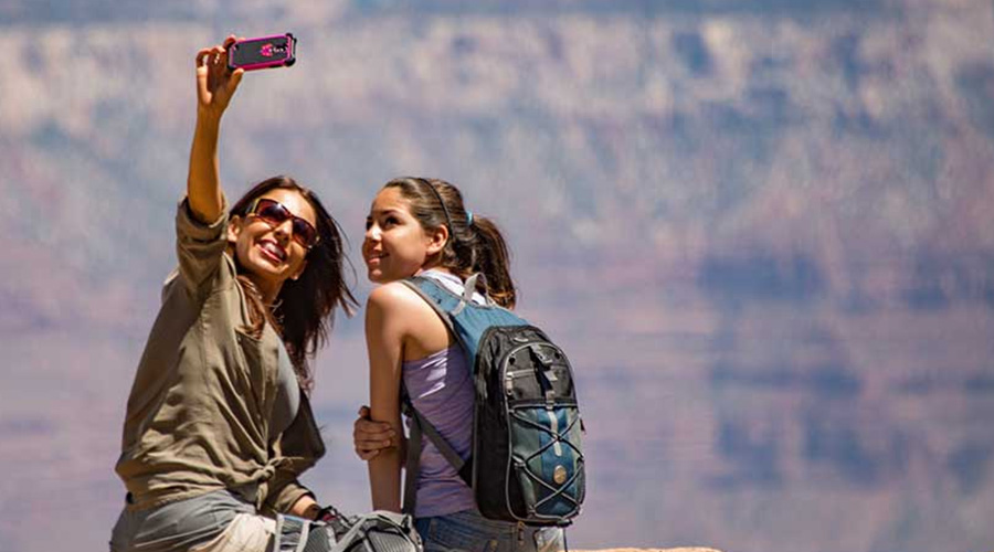 Guest taking selfie at Grand Canyon West Rim