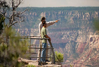 Guide and Guest at Mather Point Grand Canyon South Rim