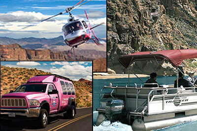 Helicopter-Pink Jeep Trekker-Pontoon Boat at Grand Canyon West