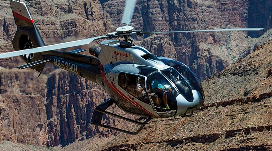 Helicopter Soaring Over the Grand Canyon West Rim 2