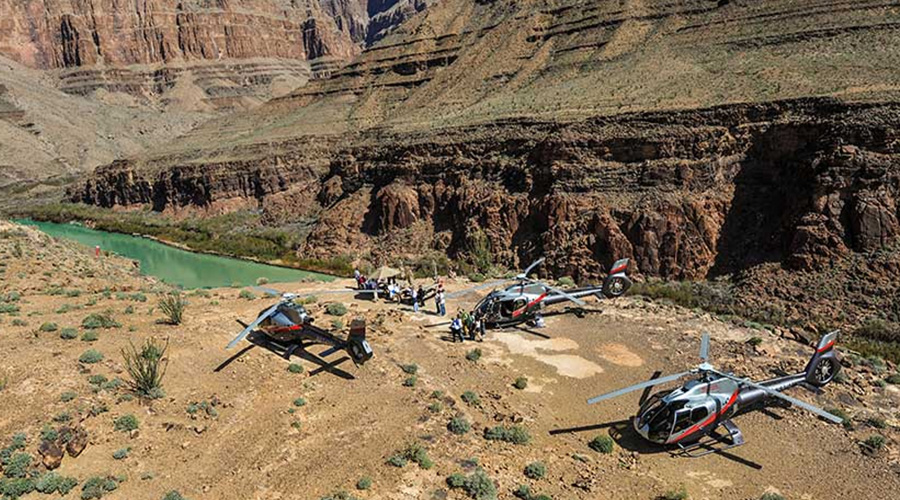 Helicopters landed at Grand Canyon West Rim