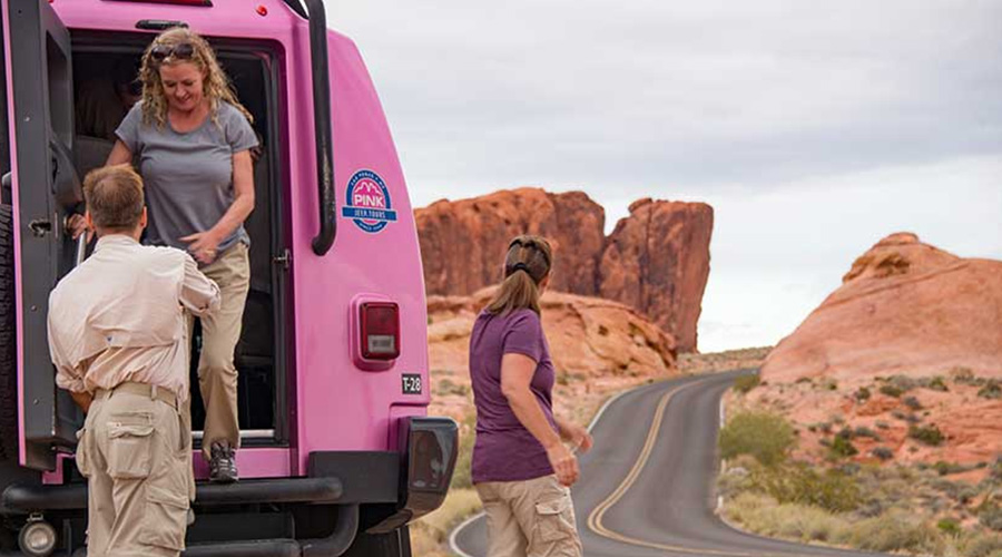 Pink Jeep Trekker unloading Guest at Valley of Fire