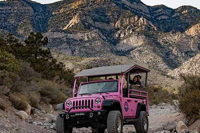 Pink Jeep Wrangler And Red Rock Canyon Gap