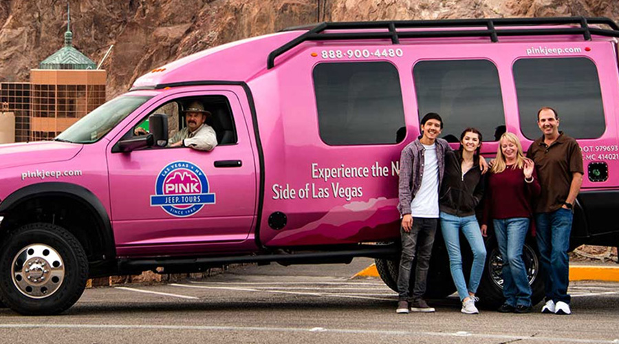 Pink Jeep at Hoover Dam with guest