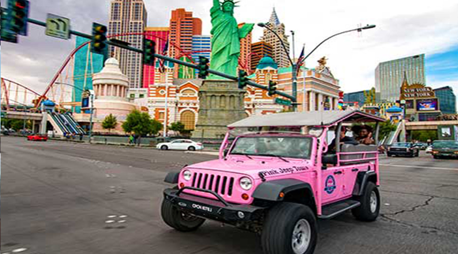Pink Jeep on Las Vegas Strip day time