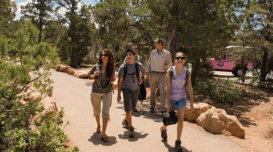 Tourist Walking the Trails at Grand Canyon