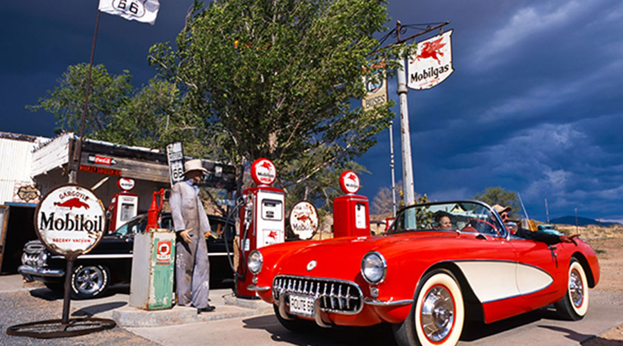 Vintage Corvette at General Store on Route 66