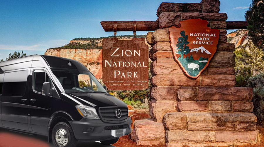 Zion National Park Service Sign and Mercedes Sprinter