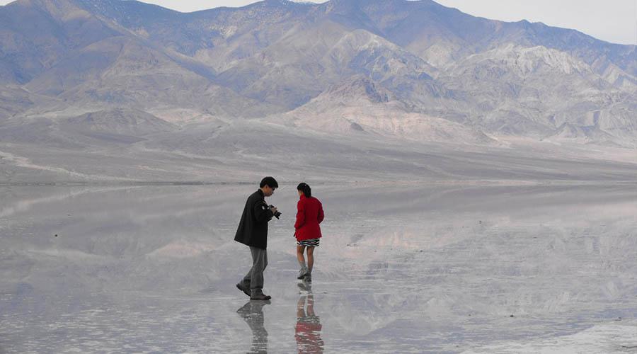 Couple exploring Death Valley