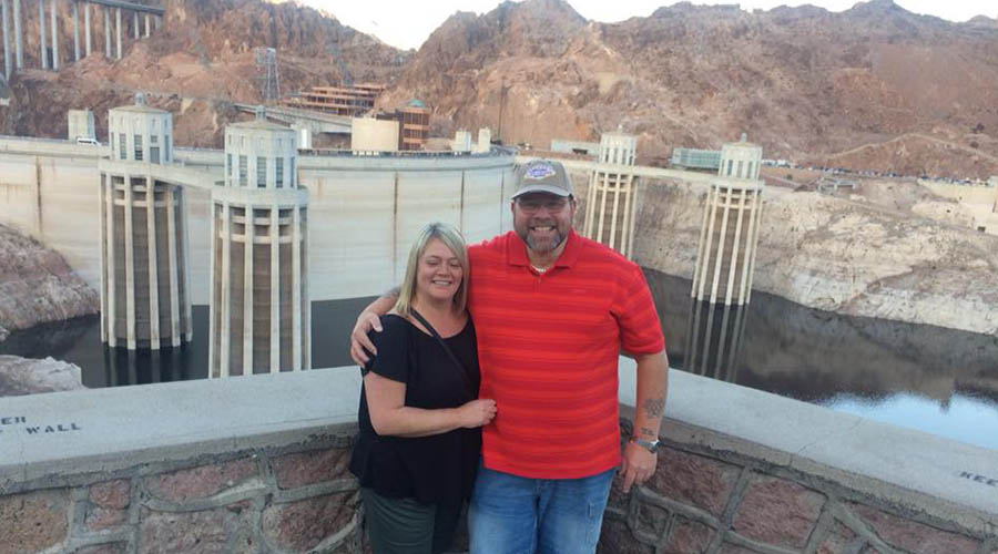 Couple posing at Hoover Dam