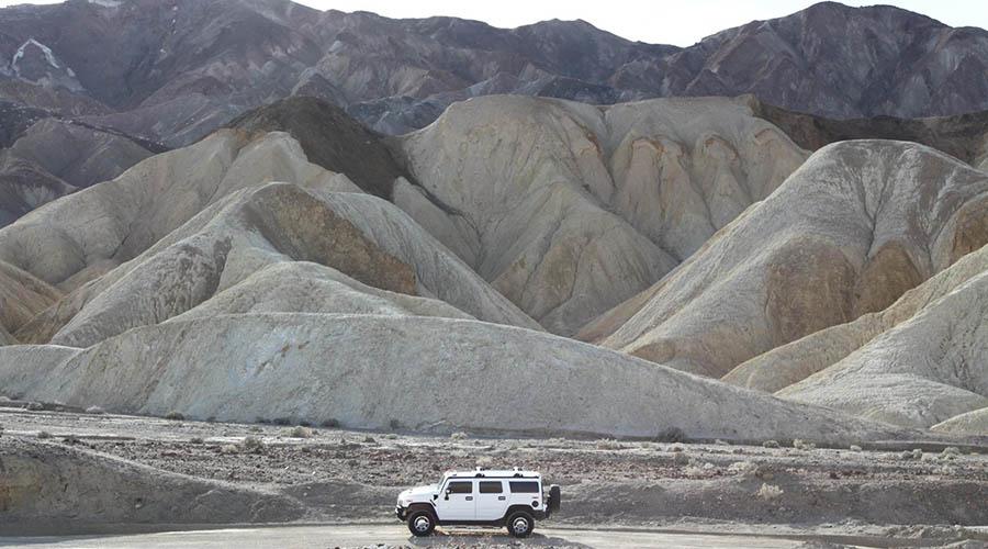 Hummer at Artist Pallet Mountains Death Valley