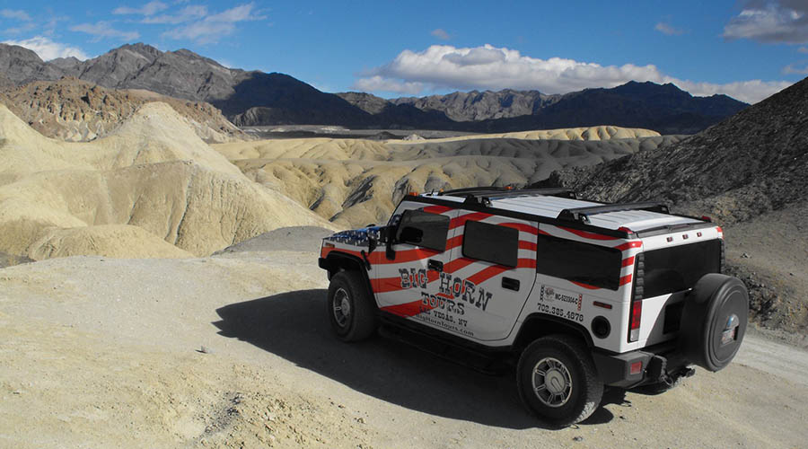 Hummer at trails end Death Valley