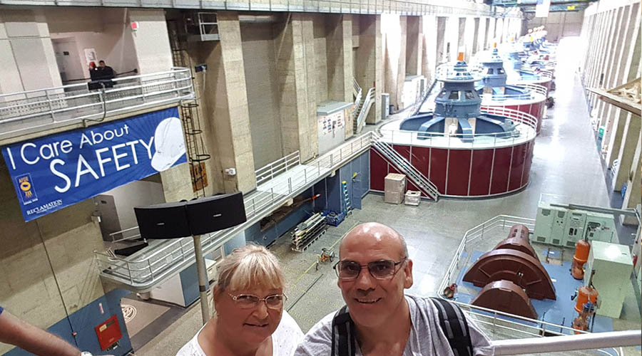 Tourist Couple inside the Hoover Dam power plant
