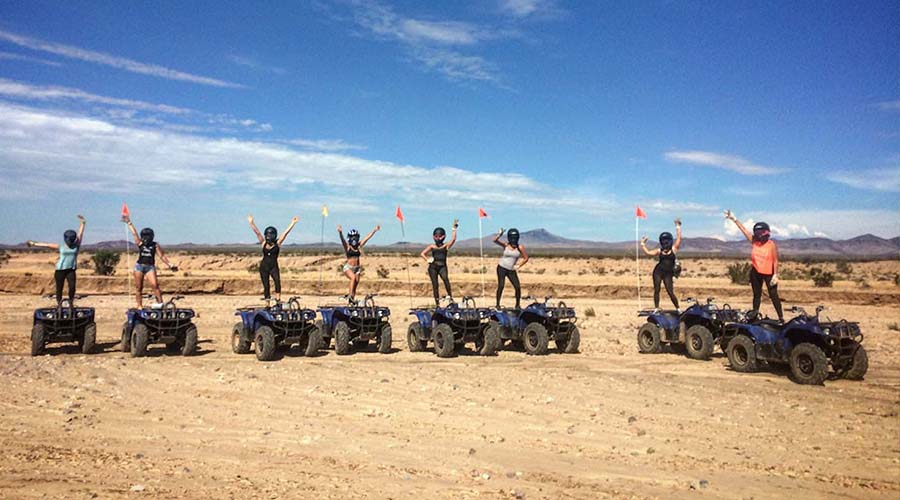 ATV Group Posing on top of ATVs at Lake Mead National Park